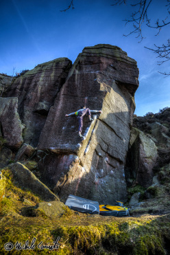 Michele Caminati on England's gritstone: Pebble Mill E5 6b