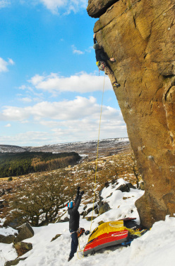 Michele Caminati on England's gritstone: Messiah E7 6c, Burbage South
