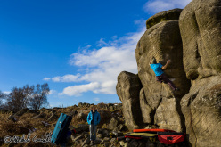 Michele Caminati on England's gritstone: Superbloc 8A+