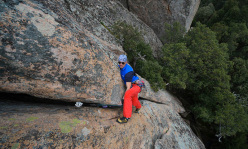 Paolo Contini getting to grips with the offwidth on pitch 1 of Top Secret.