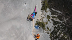 Nina Caprez and Jonathan Siegrist climbing in the Verdon Gorge