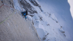 From 12  - 14 April 2013 Dani Arnold and David Lama made the first ascent of Bird of Prey (1500m, 6a, M7+, 90°, A2) up Moose's Tooth, Alaska.