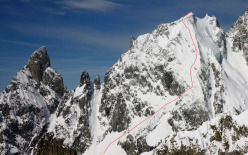The East face of Aiguille Blanche de Peuterey, frist descended in 1984 by Stefano de Benedetti and repeated on 23/04/2013 by Francesco Civra Dano, Luca Rolli, Julien Herry and Davide Capozzi