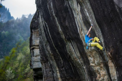 James Pearson making the first trad ascent of A denti stretti 8b+ at Balmanolesca, Italy