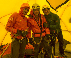 Ueli Steck, Jon Griffith and Simone Moro at Camp 2