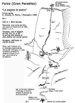 La via Pagine di Pietra nel vallone di Forzo (Gran Paradiso) aperta il 21/12/1980 da Andrea Giorda, Isidoro Meneghin e Biagio Merlo.