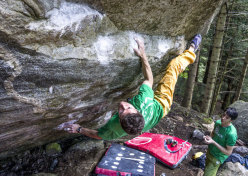 Stefano Ghisolfi on Climb for life man during Melloblocco 2013