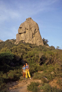 April 1985, Maurizio Oviglia and Cecilia Marchi posing beneath the tower, a few days after becoming engaged and just before establishing the difficult climb American Graffiti. The photo was taken by unfortunate Mondo Liggi who succumbed to an illness less than a year later.