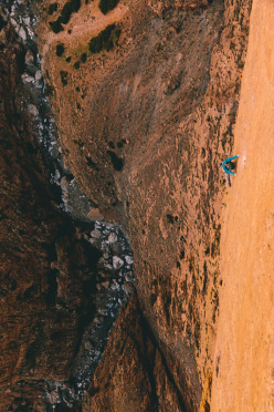 April 2013: Lisi Steurer on the slabby second pitch