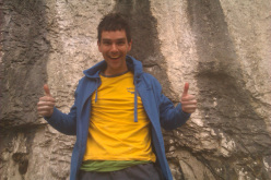 A smily Jordan Buys after having repeated Rainshadow 9a at Malham Cove in England on 03/05/2013.