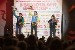 Women's podium: Anna Stöhr, Juliane Wurm, Akiyo Noguchi.