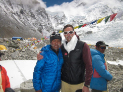 Kenton Cool and Dorje Gylgen Sherpa before their historic triple in the Himalaya: between 18 -20 May they climbed Nuptse, Everest and Lhotse.
