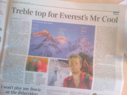 The article in The Times on 20/05/2013 dedicated to Kenton Cool and Dorje Gylgen Sherpa and their historic triple in the Himalaya: between 18 -20 May they climbed Nuptse, Everest and Lhotse.
