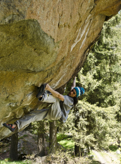 Niccolò Ceria making the first ascent of The ghost ship 8B+ at Champorcher, Valle d'Aosta, Italy