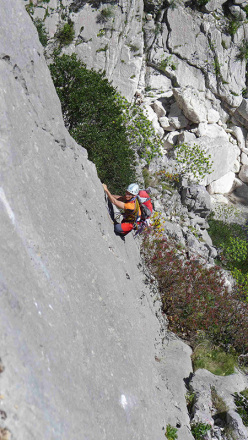 During the first ascent of Lughe 'e vida mia - Gole  di Gorroppu, Sardinia