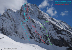On 26 May 2013, Paolo Zanoli, Giovanni Pagnoncelli and Davide Gallian made the first ascent of Ghost Face (TD+,  850m height, 550m length, ) a new winter-style route on the NE Face of Hubshorn (3192m, Pennine Alps) on the between Italy's Piedmont and Switzerland's Canton of Valais.