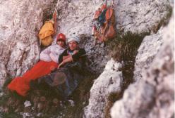 1981: bivacco durante l'apertuta della-via A Federico - Presolana di Castione