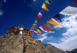 Buddhist monastery and prayer flags.