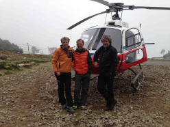 Maurizio Folini, Simone Moro and Reinhold Messner at Lukla (Khumbu Himal)