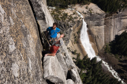 Cedar Wright and Lucho Rivera on their route Mahtah, Liberty Cap, Little Yosemite Valley, USA.