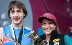 Dmitrii Sharafutdinov and Anna Stöhr, winners of the Bouldering World Cup 2013