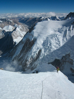 Climbers on Nuptse ridge at 3/4 height