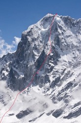 The north face of Tengkangpoche, Nepal 6500m where Ueli Steck and Simon Anthamatten made the first ascent of