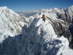 The razor sharp summit ridge of Tengkangpoche (6500m), Nepal.