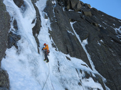 07/06/2013: Matt Helliker and Jon Bracey during the first free ascent of Birthright, Grands Charmoz, Mont Blanc