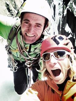 07/06/2013: Matt Helliker e Jon Bracey durante la prima libera di Birthright, Grands Charmoz, Monte Bianco