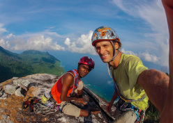 Tam Khairudin Haja and David Kashlikowski on the summit after the first redpoint ascent