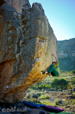 Michele Caminati getting to grips with the bouldering at Rocklands, South Africa