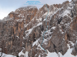 Argento Vivo (WI 6+, M8, A2, V+, 1350m), Piccola Civetta, Dolomiti. 12-15/05/2013 Stefano Angelini, Alessandro Beber, Fabrizio Dellai.