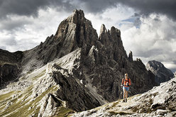 Amy Rasic running the Alta Via 1 trail through the Dolomites