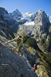 Bruno Schlappi climbing the Rosenlauihorn in the Berner Oberland, Switzerland