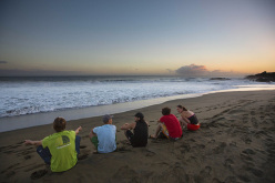 James Pearson, Yuji Hirayama, Sam Elias, Jacopo Larcher and Caroline Ciavaldini on the Reunion island