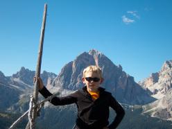 Paolo Sterni in cima a Gallo George, Muraglia del Giau, Lastoni di Formin, Dolomiti