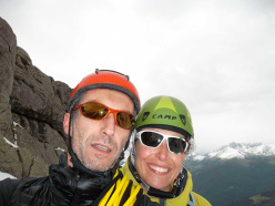 29/06/2013: Paolo Michielini and Alessia Savio during the ascent of Canalone del Frate, Caldenave 2442m (Gruppo delle Cime di Rava, TN).