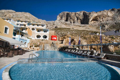 Elena Village in Masouri, the base camp of the The North Face Kalymnos Climbing Festival. In the background the sectors  Spartacus, Spartan Wall, Afternoon, Grande Grotta, Panorama.