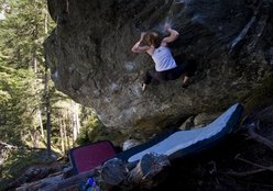 Barbara Zangerl sending Pura Vida Fb8b, Magic Wood, Switzerland. www.richardmcgibbon.com