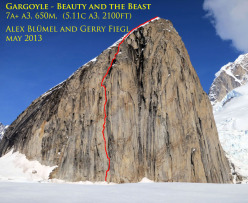 The route line of Beauty and the Beast (7a+ 650m A3, Alex Bluemel, Gerry Fiegl) Mt. Gargoyle, Alaska