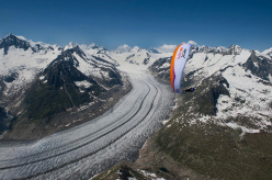 Swiss paraglider Cristian Maurer during the Red Bull X-Alps 2013