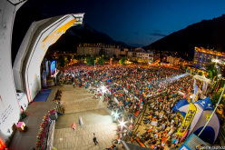 During the 10th European Climbing Championships at Chamonix.