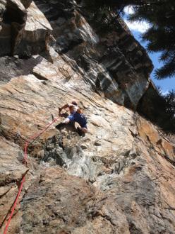 Zoia Nuova, Valmalenco: Daniele Pigoni climbing Gajardi 7c