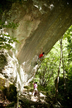 Mauro Calibani making the first ascent of Hole's Trilogy 8c at Roccamorice, Abruzzo, Italy