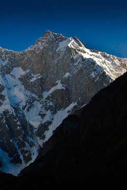 The formidabel SW Face of Kunyang Chhish East in the Karakorum, first climbed by Simon Anthamatten, Hansjörg Auer and Matthias Auer in July 2013.