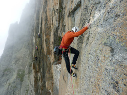 Dario Spreafico negotiating one of the crux sections on Diamante pazzo