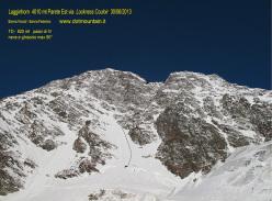 Lockness Couloir (Federico e Nicolò Sanna 30/06/2013, TD-, 820m, IV, neve e ghiaccio max 80°),  Lagginhorn 4010m, Svizzera.