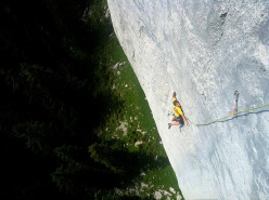 Roland Hemetzberger on Sodom und Gomorah (170m, 8a+/8b) at the Sonnwand, Loferer Alm, Austria.