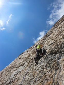 Via Lisetta, Col dei Bos, Dolomites: Andrea Simonini freeing the crux pitch IX- (7b+)